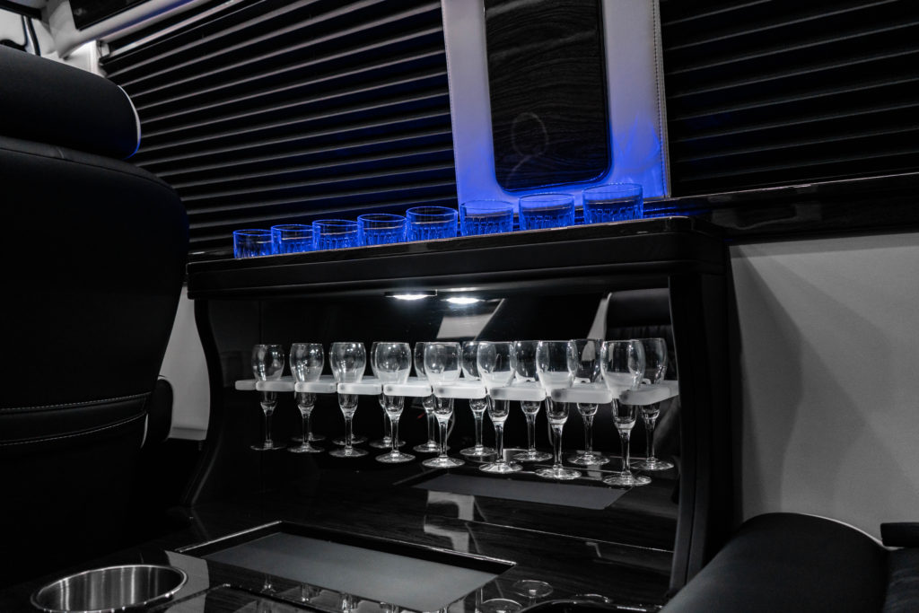 Cocktail Bar - Mercedes-Benz Business Club J Luxury Sprinter Van - For Sale - Iconic Sprinters - Dallas Texas